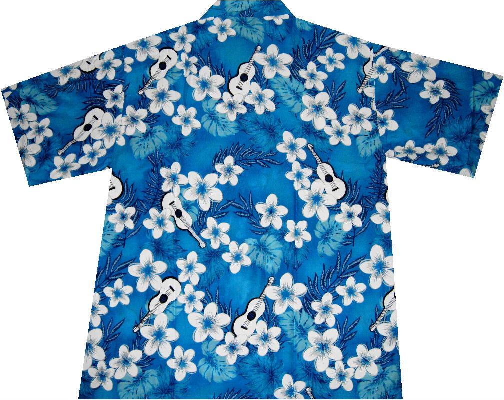 Hawaiihemd Hawai Hawaii Hemd Viskose blau Palmen multi